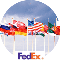 International flags and the FedEx logo